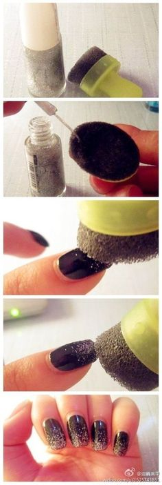 Get a gradient effect by dabbing glitter nail polish onto a porous sponge. 32 Easy Nail Art Hacks For The Perfect Manicure Nail Art Hacks, Nail Art Diy, Easy Nail Art, Diy Nails, Glitter Nails, Sparkly Nails, Gradient Nails, Fancy Nails, Love Nails