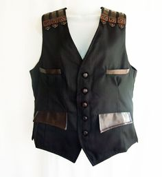 Charcoal pinstripe 'Raven' waistcoat with leather look features £57.00 http://gothic.dresstobedifferent.com/store/products/category/male-clothing/