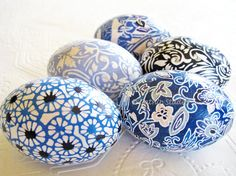 Easter Eggs Origami Easter Eggs decoupage Blue Black White Batik mums floral prints...By:CatnipStudioToo