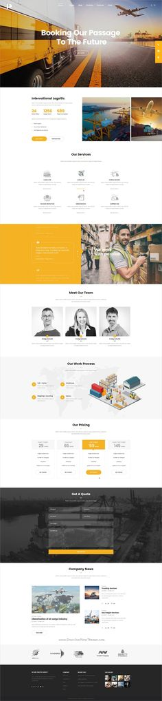 Pisces is clean and modern design multipurpose PSD template for #logistics and #transportation company website with 18+ niche homepage layouts and 61 layered PSD pages download now..