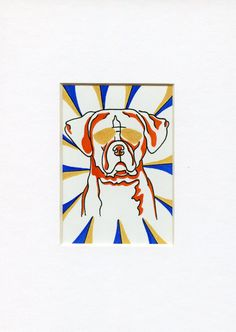 Dog Art Original Boxer Art miniature art ACEO by ClarityArtDesign