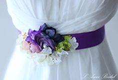 Purple Flower Bridal Sash Wedding Belt,Flower Statement Belt, Purple Wedding Sash Belt, Double Faced Luxe Satin Ribbon by LAmei on Etsy