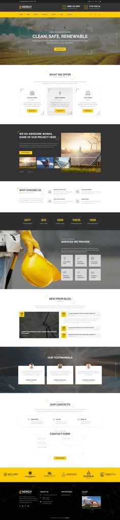Energy - Renewable Energy and Eco Friendly Technologies HTML template with Builder, Corporate Business