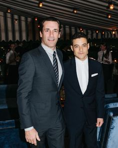 If you're going to GQ's Men of the Year party you gotta look sharp. Here's Jon Hamm and Rami Malek rocking #DiorHomme at the pre-MOTY @Dior dinner honoring GQ Creative Director @jimmooregq. ( @jacelumley) #MOTY20 by gq