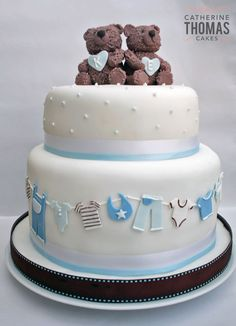 New Baby Shower Cake Twins Sweets Ideas Torta Baby Shower, Twin Baby Shower Cake, Teddy Bear Cakes, Teddy Bears, Twins Cake, Baby Boy Cakes, Cute Cakes, Creative Cakes, Celebration Cakes