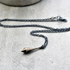 Brass Pendulum Necklace, Minimalist Antiqued Brass and Oxidized Sterling Silver Long Chain Necklace Simple Boho - Synchronicity