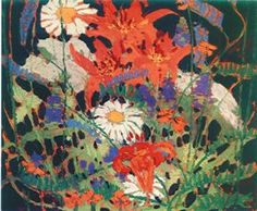 Tom Thomson - Marguerites, Wood Lilies and Vetch 1915 Emily Carr, Canadian Painters, Canadian Artists, Group Of Seven Artists, Tom Thomson Paintings, Painted Toms, Landscape Paintings, Floral Paintings, New Art