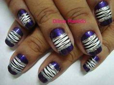 zebra nails with sparkle lines