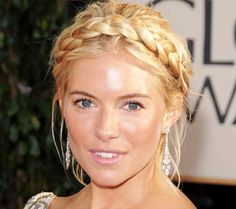 Sienna Miller's pretty plaited updo