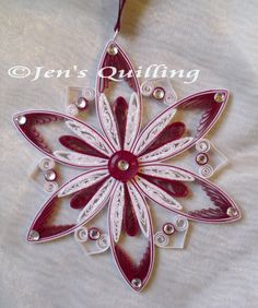 Articoli simili a Quilled Snowflake Hanging Ornament su Etsy Paper Quilling Earrings, Paper Quilling Cards, Paper Quilling Patterns, Origami And Quilling, Neli Quilling, Origami Paper Art, Quilling Craft, Paper Christmas Ornaments, Quilling Christmas