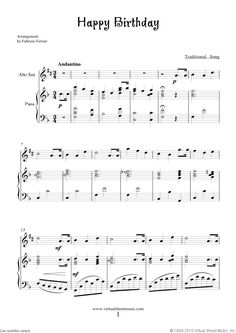 Happy Birthday sheet music for alto saxophone and piano