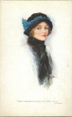 woman faces right, black hat & scarf