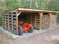Pallet wood shed one side for wood then make a dog pen with run out the front with chain link