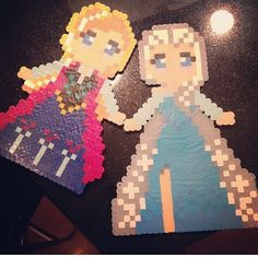 Ana and Elsa Frozen perler beads by kandi_life