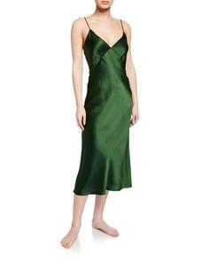 """Olivia Von Halle """"Issa Ivy"""" nightgown in slip dress-style. Scoop neckline and back. Olivia Von Halle, Silk Nightgown, Silk Charmeuse, Lingerie Sleepwear, Issa, Night Gown, Luxury Fashion, Fashion Dresses, Gowns"""