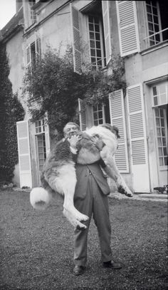 Picasso with one of his dogs in 1932. Great photos of his home life, just released