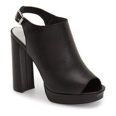 "Jeffrey Campbell 'Payola' Platform Sandal, 4 1/2"" heel ($160) ❤ liked on Polyvore featuring shoes, sandals, black leather, jeffrey campbell sandals, high heel platform sandals, leather sandals, platform sandals and ankle strap sandals"