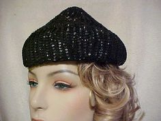 Looks kinda retro something... ALady. Black sequined bee hive hat fits 22 inchesnice by designer2, $25.00