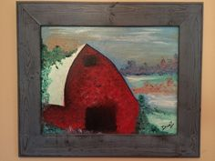Framed barn oil painting