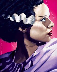 Universal Classic Monsters Art : The Bride Of Frankenstein by Flore Maquin Arte Horror, Horror Art, Horror Movies, Pulp Fiction, Elsa Lanchester, Queen Anime, Joker, Frankenstein's Monster, Horror Icons