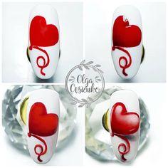 Coffin Nails, Art Lessons, Valentines Day, Nail Designs, Nail Art, Color Art Lessons, Valentine's Day Diy, Long Fingernails, Nail Desings