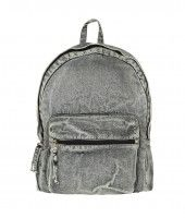 Acid wash denim backpack