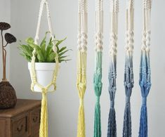 #macrameplanthanger #macramelove #macramemaker #macramesupply #hangingplanter #planthanger #handmade #vintage #etsyfinds #etsy #macramewallhanging #bohodecor #vintagemacrame #ropeplanthanger #crochetplanthanger #yellow #green #decorativeplanter #houseplants #plantlovergifts #giftsforher #macramehanger #verticalplanthanger #gardening #verticalgardening #macrameideas #macrameprojects #wallplanter #crafts #beadedmacrame #spiralmacrame #shorthangingplanter #dipdyemacrame #blueplanter… Hanging Wall Planters Indoor, Woven Wall Hanging, Floating Garden, Macrame Plant Hangers, Different Plants, Gifts For Family, Indoor Outdoor, Outdoor Gardens, Dips