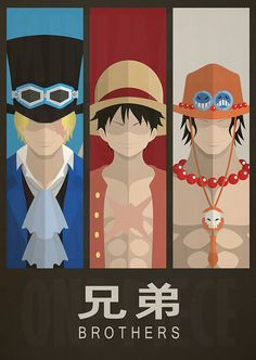 One Piece Minimalist Poster Brothers by MinimallyOnePiece on Etsy, $30.00