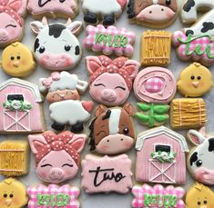 2nd Birthday Party For Girl, Cow Birthday, Farm Animal Birthday, Birthday Cookies, Birthday Party Themes, Birthday Ideas, Farm Cookies, Sugar Cookies, Farm Party