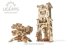Fully assembled, 'the Ugears Archballista and Tower' mechanical model kit has moving parts and elements that will help you to recreate a medieval siege and test your great conqueror's skill. The firing mechanism – or the actual archballista can shoot up t Puzzles 3d, Wooden Puzzles, Arsenal, Engineering Toys, Tower Building, Plywood Sheets, 3d Laser, Construction, Build Your Own