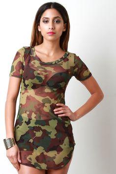 Combat Semi-Sheer Mesh Mini Dress