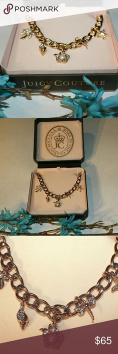 "18"" toggle closure Juicy Couture charm necklace 18"" toggle closure Juicy Couture necklace New in box with tag attached. This beautiful necklace features flower, Palm Tree, seashell, starfish, and Dragon fly charms embellished with rhinestones and pearls and has a toggle closure.  This is perfect accessory to welcome  in the warm weather with your spring and summer wardrobe! Juicy Couture Jewelry Necklaces"