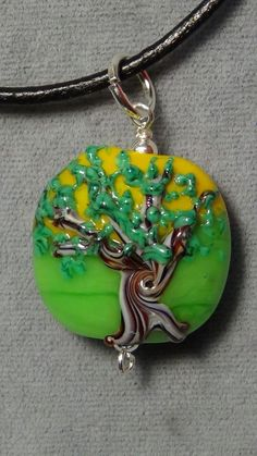 summer tree of life leaves pendant lampwork glass 5 #Handmade #Pendant