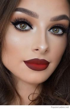 Red burgundy matte lips