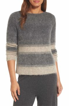 Main Image - Eileen Fisher Stripe Mohair & Alpaca Blend Bateau Neck Sweater