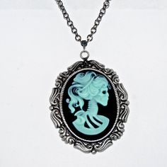 Mint on Black Skeleton Lady Goth Cameo Necklace by KimenyCricket