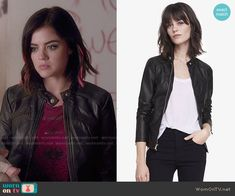 Aria's leather jacket on Pretty Little Liars.  Outfit Details: http://wornontv.net/49481/ #PLL