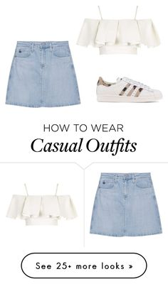 """casual summer meal"" by mayabevan on Polyvore featuring Topshop, AG Adriano Goldschmied and adidas Originals"