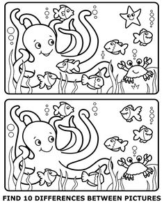 Set of free worksheets for children - find 10 differences between two pictures with octopus. Find more educational pictures for kids. Fun Worksheets For Kids, Printable Activities For Kids, Preschool Learning Activities, Puzzles For Kids, Preschool Worksheets, Preschool Activities, Kids Learning, Spot The Difference Printable, Spot The Difference Kids