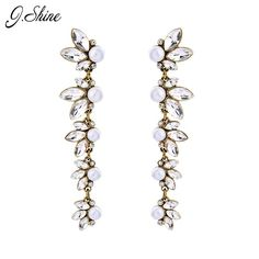 >> Click to Buy << Brand Antique Gold Color Crystal Simulated Pearls Jewelry Long Earrings for Women Fashion Evening Party Christmas Gifts     #Affiliate