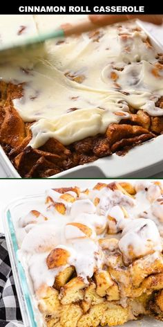 This cinnamon roll casserole recipe is a quick and tasty breakfast treat. It's drizzled with maple syrup, baked in the oven, and topped with a thick icing glaze. A perfectly easy brunch recipe for family, holidays, or lazy Sundays.