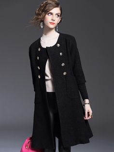 Black Collarlss Double Breasted Coat #Black #Coats #Outerwear #Work #Jackets #Working_Woman #Fashion