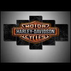 HD Printed 5 piece wall art on canvas Harley-Davidson bar shield logo orange white black