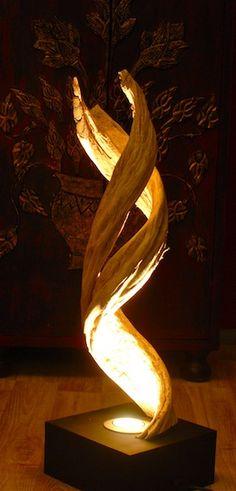 Lampe, Stehlampe, Leuchte aus Schwemmholz, Tischleuchte, Wurzelholz, Teak, Holz…