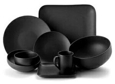 Matte black dinnerware \u2013 Glass Dishes for Meat \u0026 Dairy  sc 1 st  Pinterest & Paradiso Black Matte Dinnerware Set of 4 | Bed Bath \u0026 Beyond | $60 ...