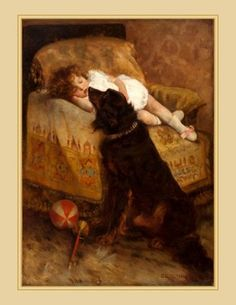Canvas art print Dog watches over sleeping child Elizabeth Strong early Dogs And Kids, Animals For Kids, Amor Animal, Victorian Art, Dog Paintings, Dog Art, Beautiful Paintings, Painting & Drawing, Vintage Art
