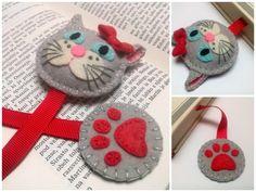 Felt cat bookmark, gray cat bookmark, white cat bookmark for girls, reader gift for cat lover, gift for teacher, back to school bookmark by DusiCrafts on Etsy https://www.etsy.com/listing/470124443/felt-cat-bookmark-gray-cat-bookmark