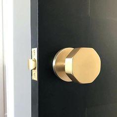 Emtek's Octagon door knob in Satin Brass Interior Door Knobs, Black Interior Doors, Black Doors, Furniture Hardware, Home Hardware, Brass Hardware, Black Door Hardware, Furniture Handles, Cabinet Hardware