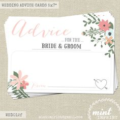 Floral Wedding Advice Cards for the Bride and Groom , Wedding Keepsake Words of Wisdom by Mint Imprint , Wedding Decor Printable WED012fw