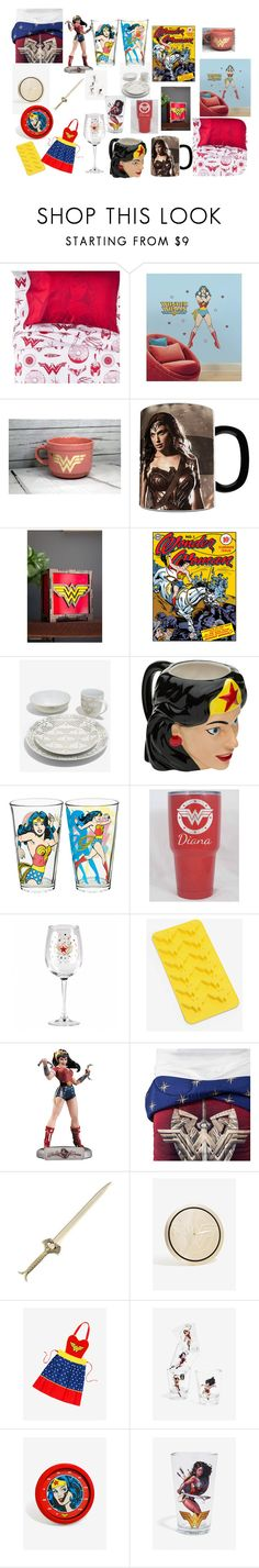 """Wonder Woman Home Decor"" by cheshirecatisback ❤ liked on Polyvore featuring interior, interiors, interior design, home, home decor, interior decorating, Warner Bros., DC Comics, awesomeness and homedecor"